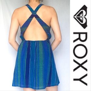 ROXY Cross Back Strappy Stripe Sun Dress Large